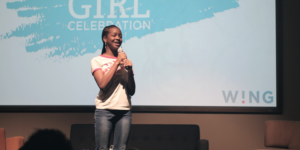 Asia Newson, Super Business Girl, spoke to a crowd of employees and their families at Fossil Group in Richardson TX