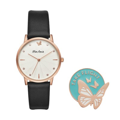 Purchase of this Mon Amie watch set supports the global education cause in partnership with WE Charity