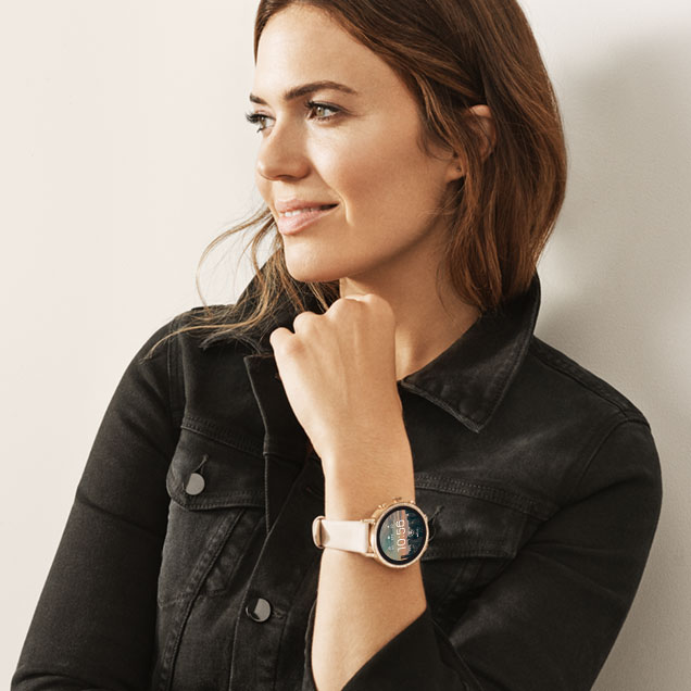 Mandy Moore models new heart rate tracking Fossil Touchscreen Smartwatch the Q Venture