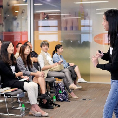 Hillary Yip shares her personal story with Fossil Group employees in Hong Kong for IDG event