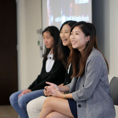 Michele Kwok and Hillary Yip answer questions on a panel at an IDG event at Fossil Group in Hong Kong