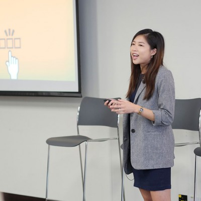 Michelle Kwok shares her personal story with Fossil Group employees in Hong Kong for IDG event