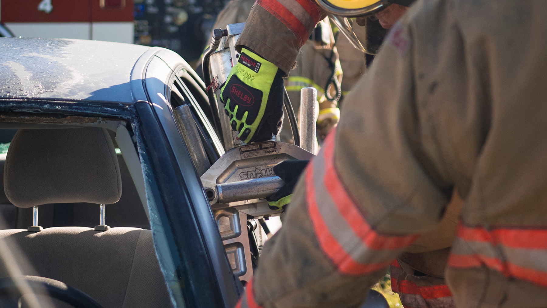 Kim Clark used jaws of life to remove door from car during extraction training exercise