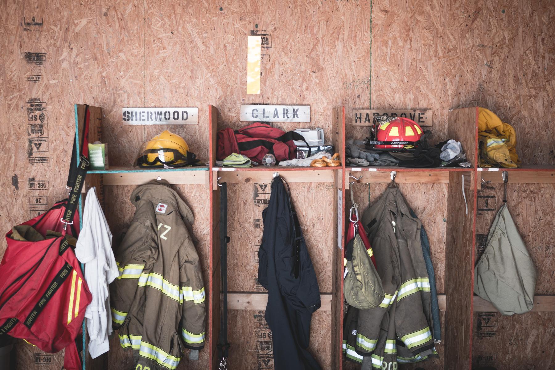 shot of locker area at van zandt county volunteer fire department