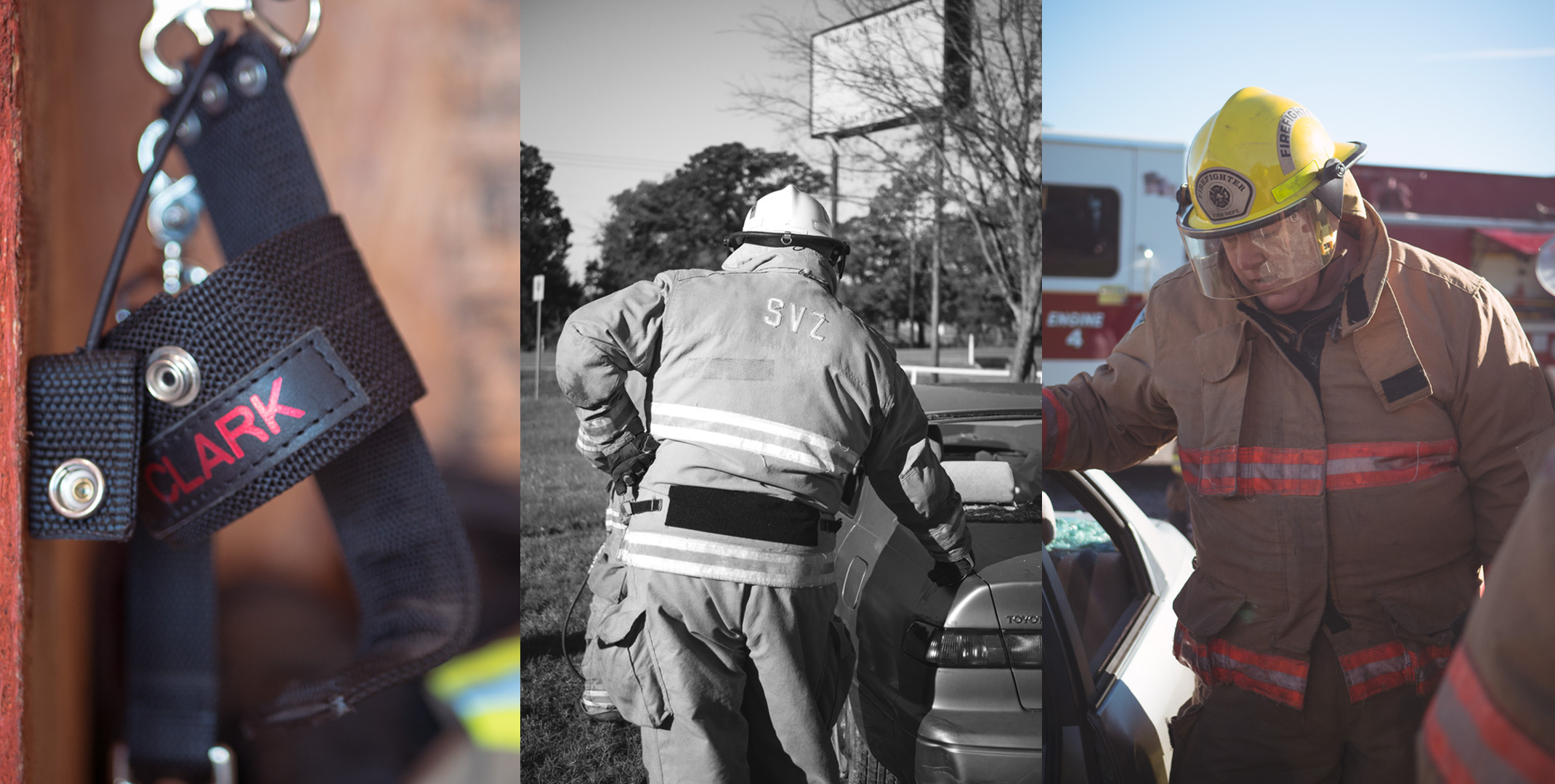 trio of images of Kim Clark working at volunteer fire fighter