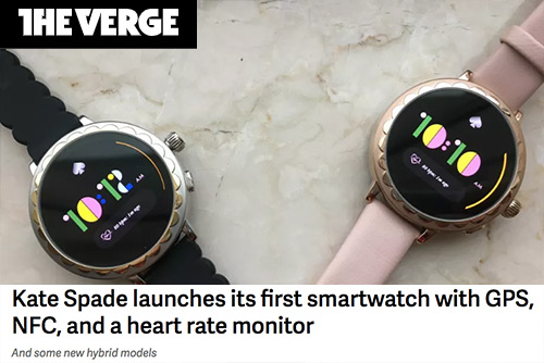 """5fed9b6ae Read """"kate spade launches its first smartwatch with GPS, NFC, and a heart  rate monitor"""" on The Verge →"""