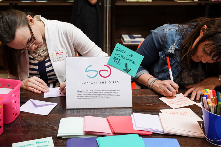 Fossil Group employees in Richardson Texas leave encouraging notes for a Womens Organization on International Women's Day