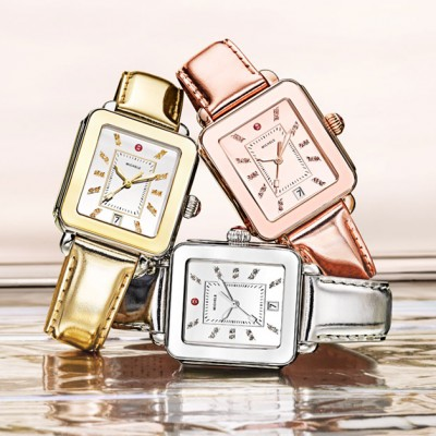 Three MICHELE Deco Sport High Shine watches in gold, silver and rose gold