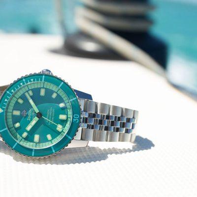 ZODIAC Super Sea Wolf Aquamarine Dreams Special Edition watch sits on yacht